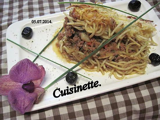 Recette de hachis de viande aux spaghettis par cuisinette - Portion de viande par personne ...