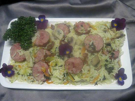 recette Riz aux légumes et saucisson à l'ail fumé.