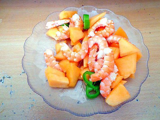 recette Salade de melons et crevettes au piment