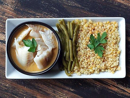 recette Colin sauce crevette,haricots verts et boulgour