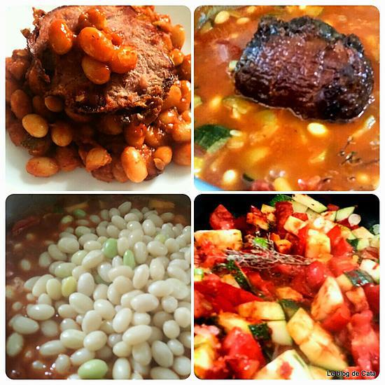 recette Haricots blancs frais à la sauce tomate et jambonneau grillé