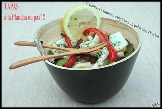 recette ** TAPAS froides ou chaudes : chipirons, calamars ou supions aux poivrons et chorizo à la plancha ou pas **