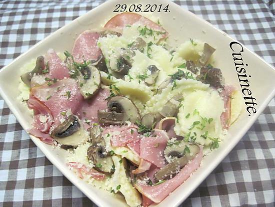 recette Pâtes Pagliaccetti. au bacon. champignons.parmesan.