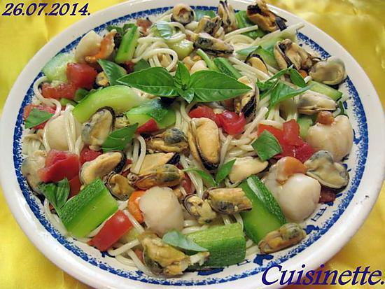 recette Spaghettis aux légumes. crustacés.