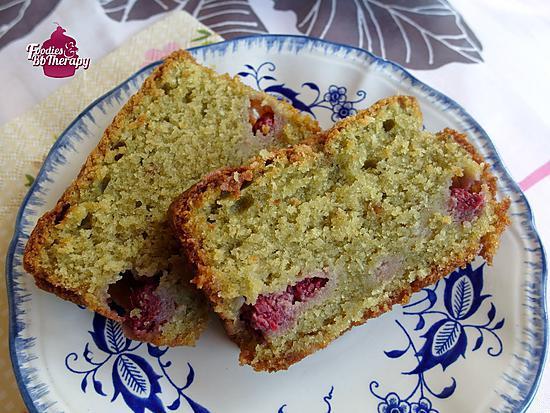 recette Cake thé matcha et framboises ( sans beurre)