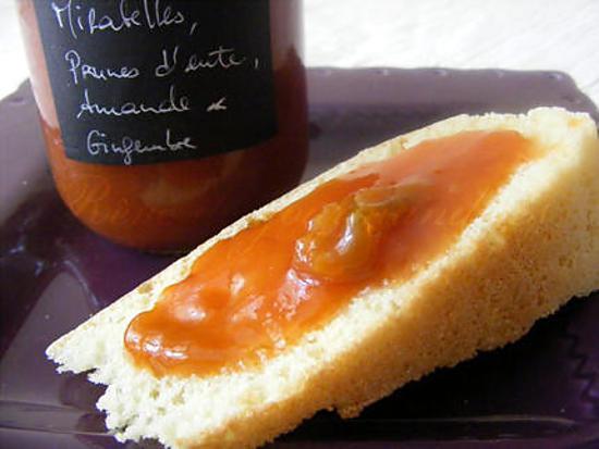 recette Confiture de prunes d'ente et mirabelles au gingembre et à l'amande