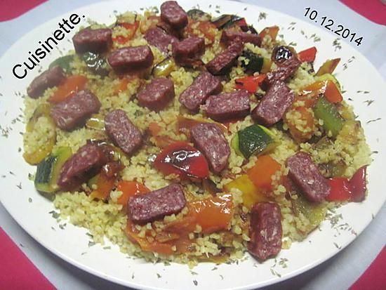 recette Boulgour aux saucisses gendarme et légumes.