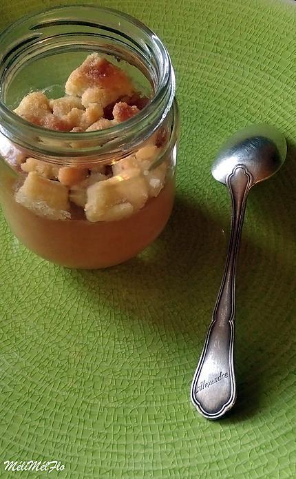 recette Crumble gourmand aux pommes et aux pêches