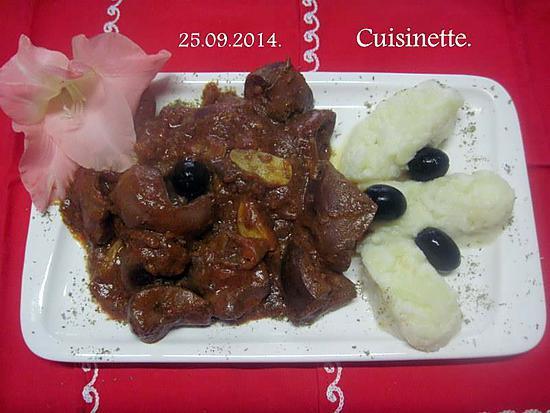 Recette de rognons de porc la sauce tomates keufta - Cuisiner rognons de porc ...