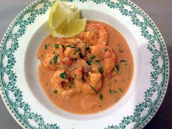 recette Scampis à l'estragon sauce tomate-crème et saumon.