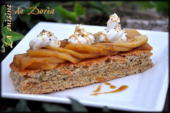 recette Moelleux aux noisettes, lit de pommes et sa chantilly