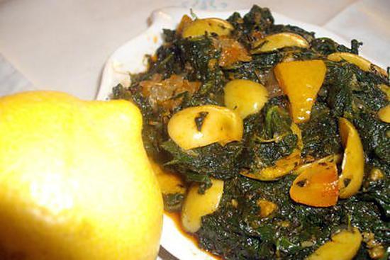recette épinards aux citrons confits et aux olives vertes
