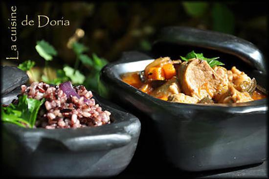 recette Mijoté de porc piquant aux olives et son riz Pervenche du Laos