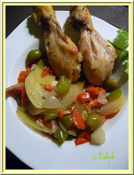 recette de pilons de poulet et l gumes au four. Black Bedroom Furniture Sets. Home Design Ideas