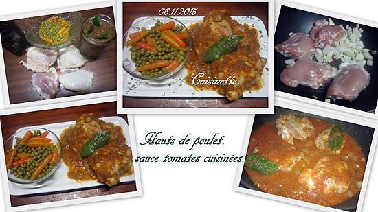 recette Hauts de poulet sauce tomates cuisinées.