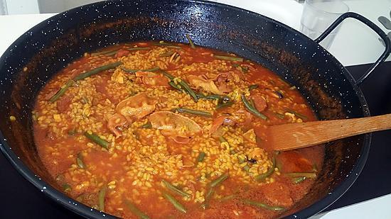 recette Riz aux fruits de mer chorizo et lard