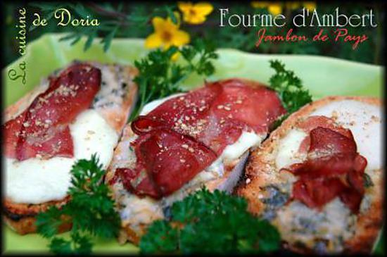 recette Tartines à la Fourme d'Ambert et jambon de pays