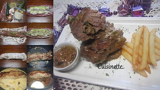 recette Filet mignon de porc garni courgette.échalote.