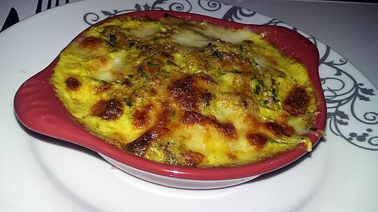 recette Cassolette de cheveux d'ange a la viande haché crème au curry