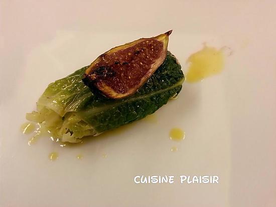 recette Foie gras de canard braisé au chou, figue et jus de viande