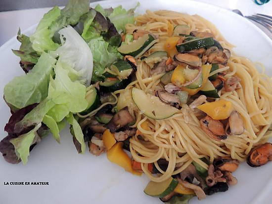 recette Légumes et mélange de fruits de mer au wok