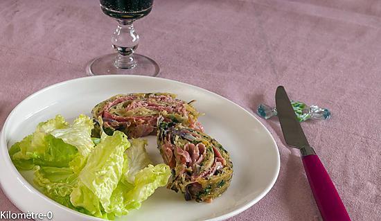 recette Roulé de pommes de terre au jambon et comté