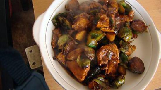 recette Sauté de poulet aux choux de Bruxelles