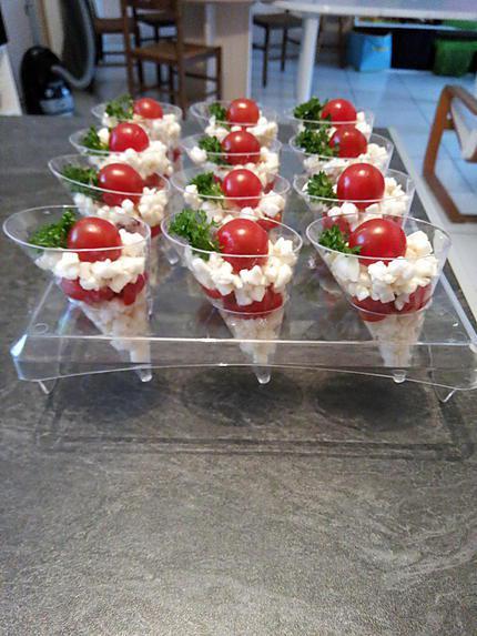 recettes verrines tomates mozzarella