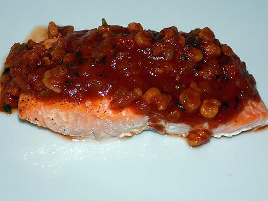 recette Pavés de saumon sauce crevettes dukan