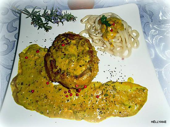recette Steak de veau pané à la crème coco/curry accompagné de nouilles japonaises