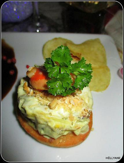 recette Noix de st jacques, crème poireau coco, sur une tartelette sablée au parmesan