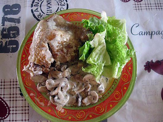 Recette de cuisse de poulet au thym et aux champignons - Cuisse de poulet calories ...