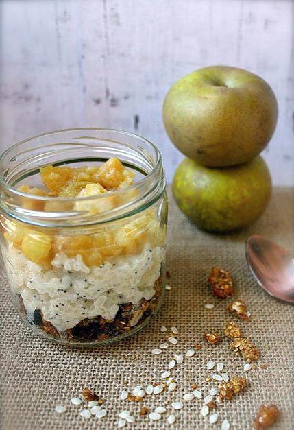 recette Parfait granola aux graines et pomme, riz au lait au pavot, compotée de pommes vanillée ( sans gluten, option vegan )