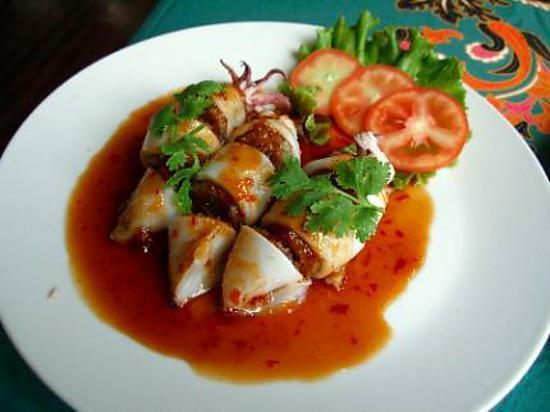 recette calamars farcis au porc et champignons