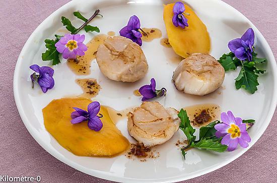 recette Noix saint jacques poelées aux mangues