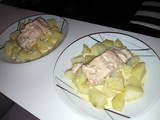 recette Pavés de saumon et ses pommes de terre a la sauce citronné au Varoma Thermomix