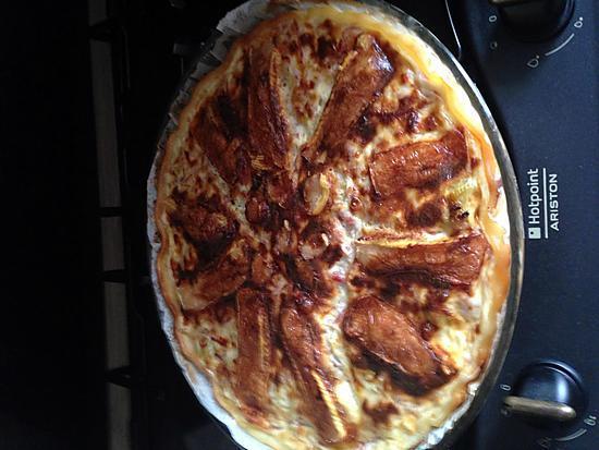 recette tarte poireaux , jambon allumettes et fromage