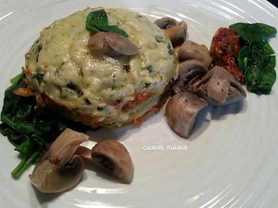 recette Lasagnes poulet, épinards, champignons à la sauce tomate et béchamel