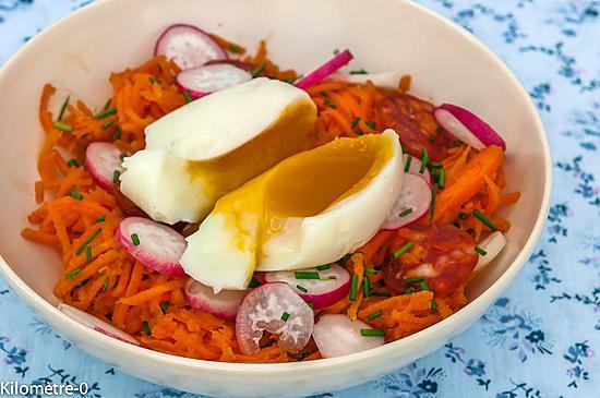 recette de salade de carottes rap es au chorizo et oeuf mollet. Black Bedroom Furniture Sets. Home Design Ideas