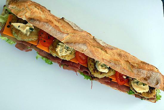 Recette de sandwich jambon cru rostis mimolette - Recette sandwich froid baguette ...