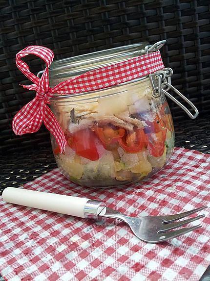 recette Salade en bocaux (salade verte-pomme de terre-tomate cerise-sardines-parmesan)