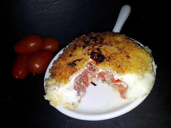 recette Mozzarella farcis jambon cru-tomates cerise confite et panés