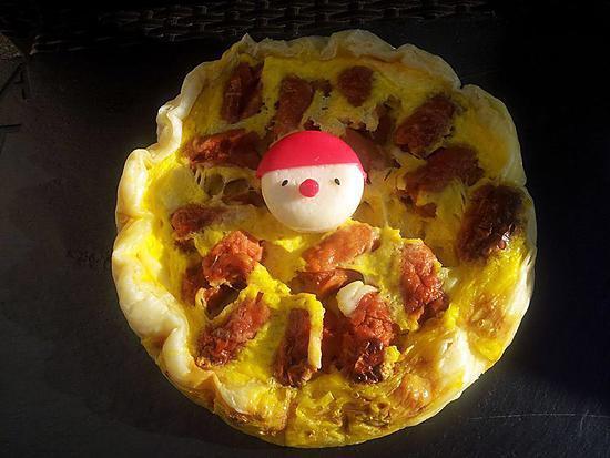 recette Quiche au mini-knackis et babybel déguisé en babybel-clown (cuisson au micro-ondes)