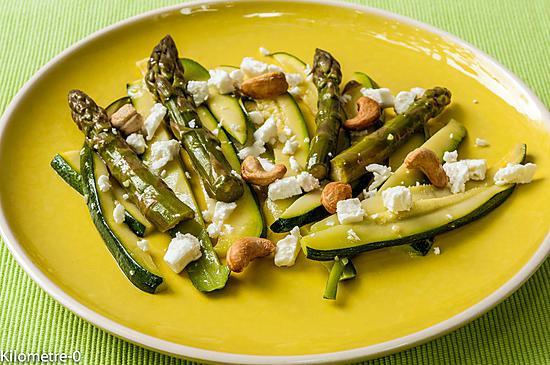 recette Salade de courgettes, asperges vertes, fêta et noix de cajou