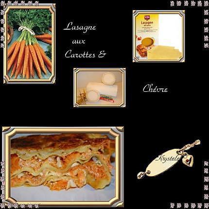 recette *Lasagne aux carottes et chévre*