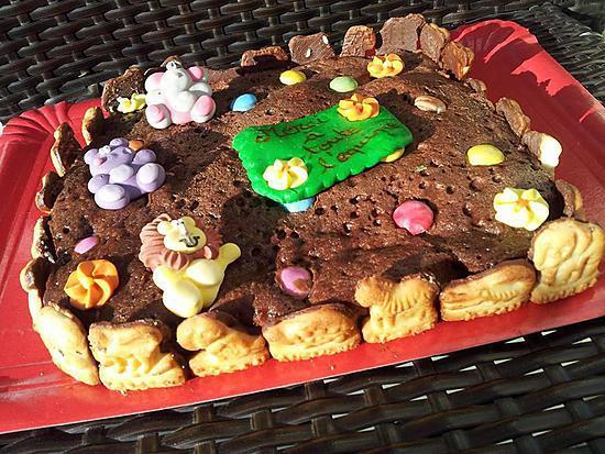 recette Gâteau au nutella et smarties décorer théme animaux
