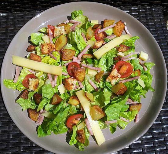 recette de salade verte au jambon et cont. Black Bedroom Furniture Sets. Home Design Ideas