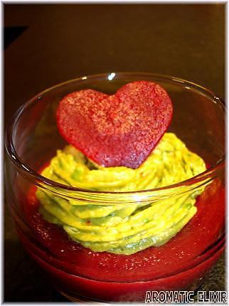 recette Verrines de betteraves rouges et guacamole