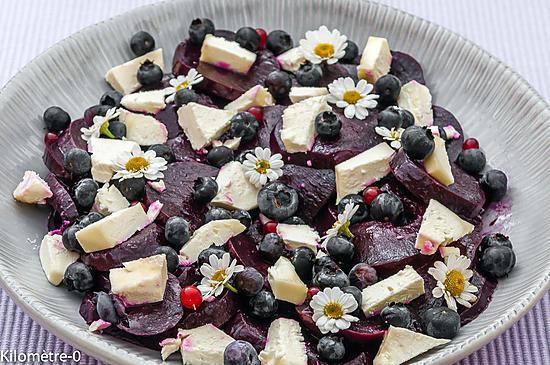 recette Salade de betterave, fromage de brebis et myrtilles