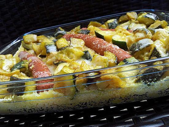 recette Gratin de courgettes au curry à la semoule et knackis